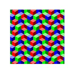 Seamless Rgb Isometric Cubes Pattern Small Satin Scarf (square)