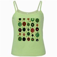 Retro Ornament Pattern Green Spaghetti Tank