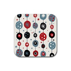 Retro Ornament Pattern Rubber Square Coaster (4 pack)