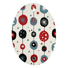 Retro Ornament Pattern Oval Ornament (two Sides)