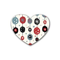 Retro Ornament Pattern Rubber Coaster (heart)