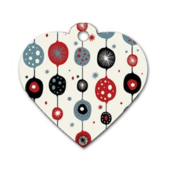 Retro Ornament Pattern Dog Tag Heart (two Sides)
