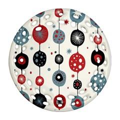 Retro Ornament Pattern Round Filigree Ornament (Two Sides)