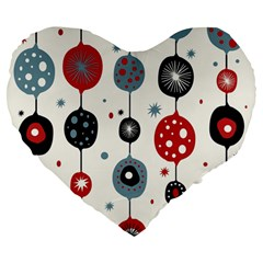 Retro Ornament Pattern Large 19  Premium Heart Shape Cushions