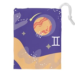 Planet Galaxy Space Star Polka Meteor Moon Blue Sky Circle Drawstring Pouches (XXL)