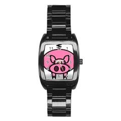 Pork Pig Pink Animals Stainless Steel Barrel Watch