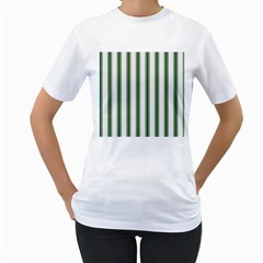 Plaid Line Green Line Vertical Women s T-Shirt (White) (Two Sided)