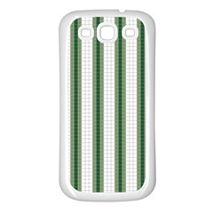 Plaid Line Green Line Vertical Samsung Galaxy S3 Back Case (white)
