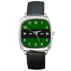 Road Street Green Black White Line Square Metal Watch