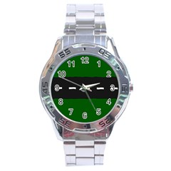 Road Street Green Black White Line Stainless Steel Analogue Watch