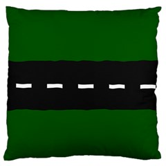 Road Street Green Black White Line Large Flano Cushion Case (two Sides)