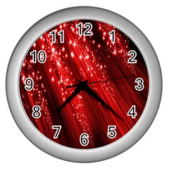 Red Space Line Light Black Polka Wall Clocks (Silver)