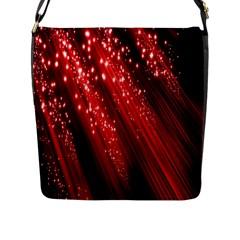 Red Space Line Light Black Polka Flap Messenger Bag (L)
