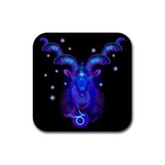 Sign Capricorn Zodiac Rubber Coaster (Square)