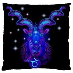Sign Capricorn Zodiac Large Flano Cushion Case (One Side)