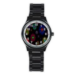 Star Space Galaxy Rainboiw Circle Wave Chevron Stainless Steel Round Watch