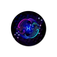 Sign Pisces Zodiac Rubber Round Coaster (4 pack)