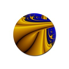 Waves Wave Chevron Gold Blue Paint Space Sky Rubber Coaster (Round)