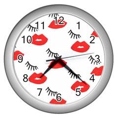 Smooch Pattern Design Wall Clocks (Silver)