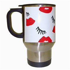 Smooch Pattern Design Travel Mugs (White)