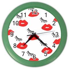 Smooch Pattern Design Color Wall Clocks