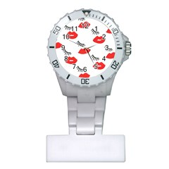 Smooch Pattern Design Plastic Nurses Watch