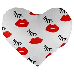 Smooch Pattern Design Large 19  Premium Flano Heart Shape Cushions