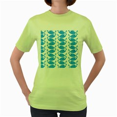 Fish Pattern Background Women s Green T-Shirt