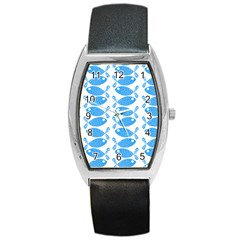 Fish Pattern Background Barrel Style Metal Watch