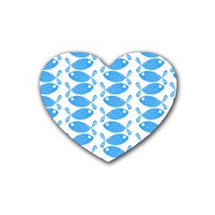 Fish Pattern Background Heart Coaster (4 pack)