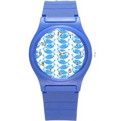Fish Pattern Background Round Plastic Sport Watch (s)