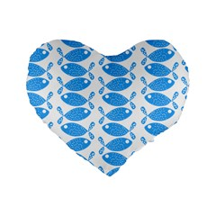 Fish Pattern Background Standard 16  Premium Flano Heart Shape Cushions