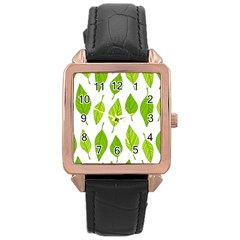 Spring Pattern Rose Gold Leather Watch