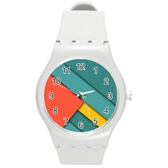 Color Schemes Material Design Wallpaper Round Plastic Sport Watch (m)