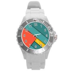 Color Schemes Material Design Wallpaper Round Plastic Sport Watch (l)