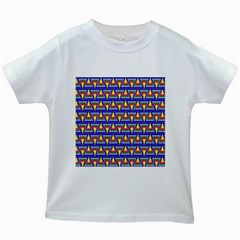 Seamless Prismatic Pythagorean Pattern Kids White T Shirts