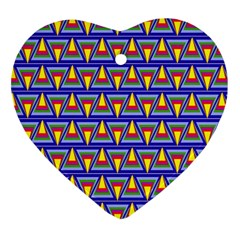 Seamless Prismatic Pythagorean Pattern Heart Ornament (Two Sides)