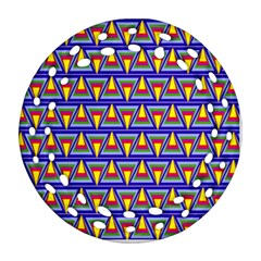 Seamless Prismatic Pythagorean Pattern Round Filigree Ornament (Two Sides)