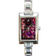 Sunset Floral Rectangle Italian Charm Watch