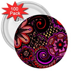 Sunset Floral 3  Buttons (100 Pack)
