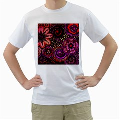 Sunset Floral Men s T-Shirt (White) (Two Sided)