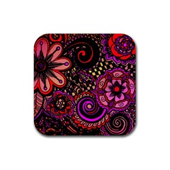 Sunset Floral Rubber Square Coaster (4 pack)