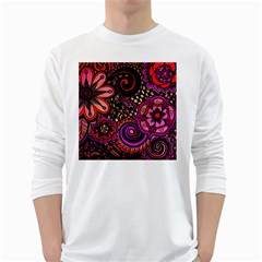 Sunset Floral White Long Sleeve T Shirts