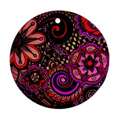 Sunset Floral Round Ornament (Two Sides)