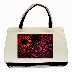 Sunset Floral Basic Tote Bag (Two Sides)