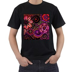 Sunset Floral Men s T Shirt (black)
