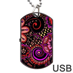 Sunset Floral Dog Tag USB Flash (One Side)