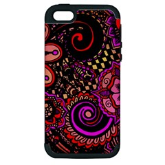 Sunset Floral Apple Iphone 5 Hardshell Case (pc+silicone)