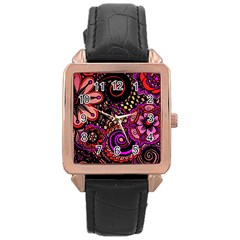 Sunset Floral Rose Gold Leather Watch
