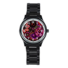 Sunset Floral Stainless Steel Round Watch